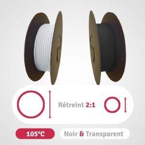 Catégorie polyoléfine à paroi simple noir et transparent rétreint 2:1 en bobines