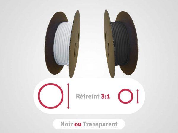 categorie bobines noires ou transparentes en rétreint 3:1