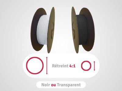 categorie bobines noires ou transparentes en rétreint 4:1