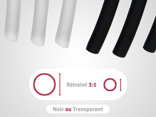 categorie longueurs noires ou transparentes en rétreint 3:1