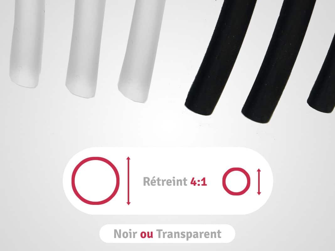 categorie longueurs noires ou transparentes en rétreint 4:1